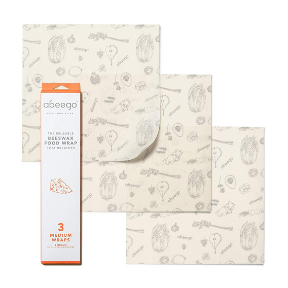 Abeego , La Original Beeswax Food Almacenamiento Wrap - Set