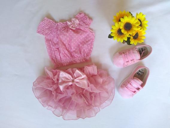 Bunda Rica + Crooped Luxo Moda Infantil Rosa