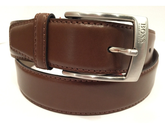 Cinturón Hugo Boss Cuero Café Tallas 36 Y 38 Ancho 3.3 Cm