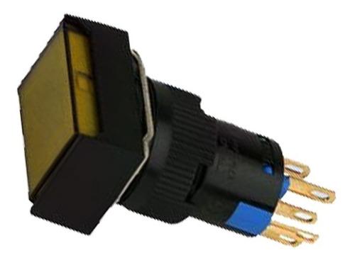 Botón Pulsador Iluminado 16mm Rectangular 24v Ámbar (26101)