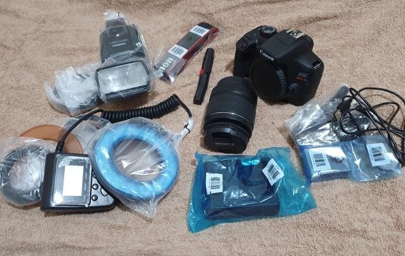 Câmara Reflex Canon Com Macro 18/55 Mm + Macroled + Flash Mc