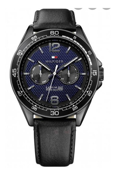 Relógio Tommy Hilfiger 1791368 Preto Aço Inox Pulseira Couro Preto