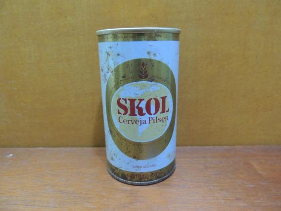 Antiga Lata De Ferro Skol Cerveja Pilsen Vazia Com Lacre