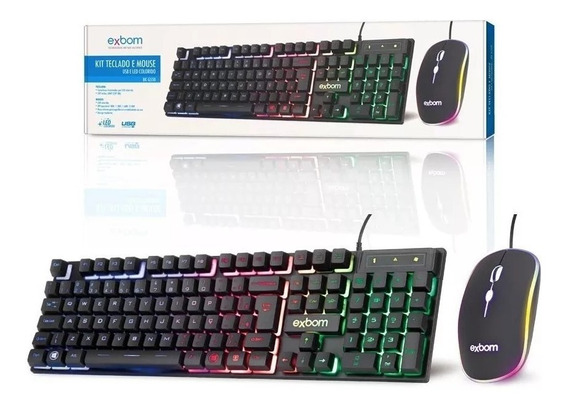 Kit Teclado Mouse Gamer Computador Abnt2 Pc Usb Led Preto