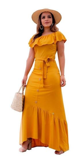 Vestido Longo Linen Lançamento Joyaly ( 30455 )