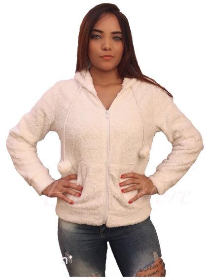 Casaco Feminina De Frio Pelúcia Pelinhos Liso E Com Capuz