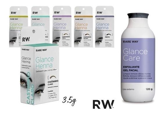3 Henna Rare Way + Esfoliante Glance Care Escolha As Cores