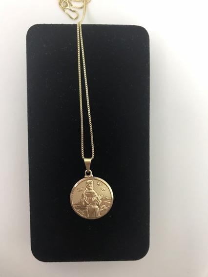 Medalha De São Francisco Com Corrente Veneziana 60cm Banhada