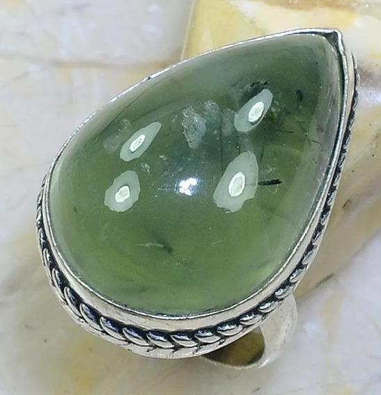 Anel Aro 18 Artesanal Com Pedra Prehnita Gema Natural