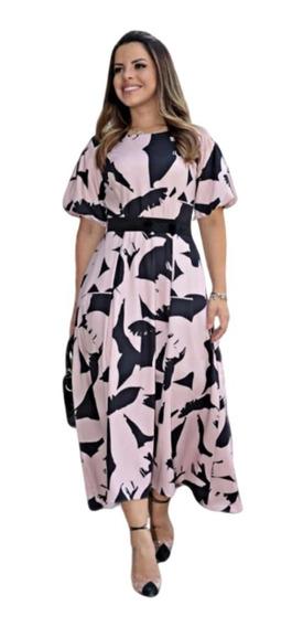 Vestidos Femininos Estampado Maxi Moda Evangélica (2663)