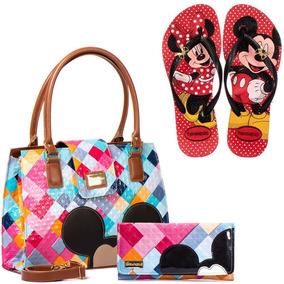 Kit Bolsa Femininas Mickey Minnie Mouse Chinelo Com Carteira