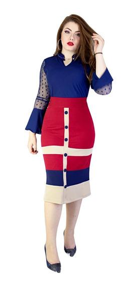Conjunto Feminino Moda Evangélica Bicolor Perfect Vanice