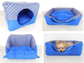Cama Caminha Para Gatos Pet Toca Luxo Azul 3 Em 1