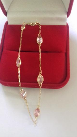 Pulseira Ouro 18k Com Zircônias Rosa - 1,70 Gramas.