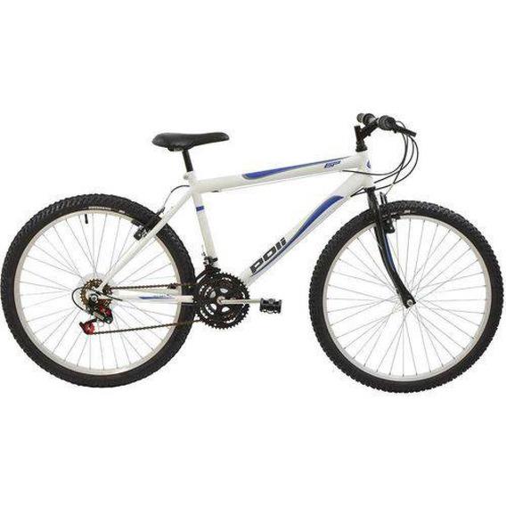 Bicicleta Polimet Mtb Aro 26 Masculina Branca