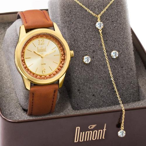 Kit Relógio Feminino Dumont Original Com Garantia E Nfe