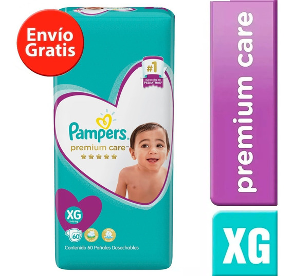 1 Paquete Pañales Pampers Premium Care 68 Unidades Talla Xg