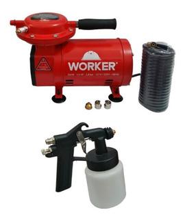 Compressor Ar Worker 50psi Biv. Com Kit Para Pintura Mostra