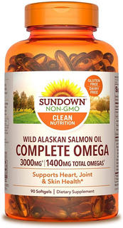 Sundown Complete Omega-1400mg Wild Alaskan Salmon Oil-3000mg