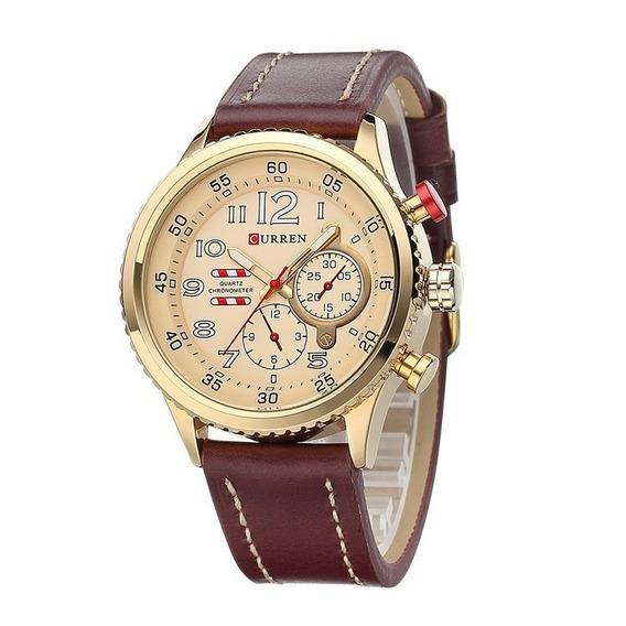 Relógio Barato Masculino Curren 8179 Pulseira Couro Promoção