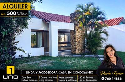 Linda Casa En Alquiler En Condominio Espíritu Santo