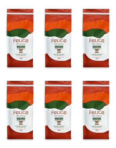 Cafés Felice - Grãos 500g - 6 Unidades