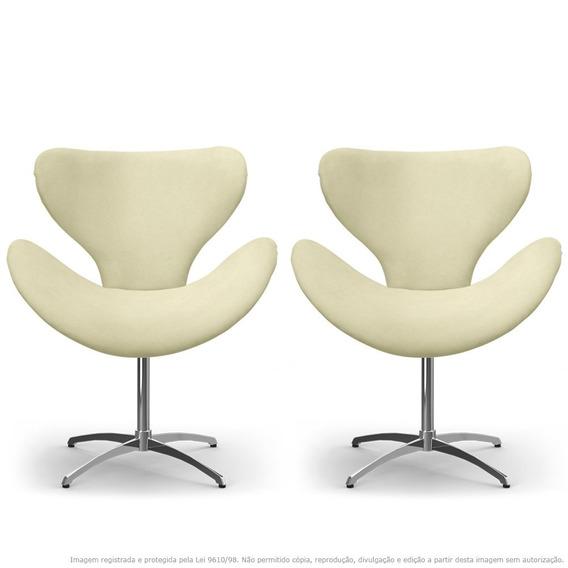 Kit De 02 Cadeiras Decorativas Egg Areia Com Base Giratória