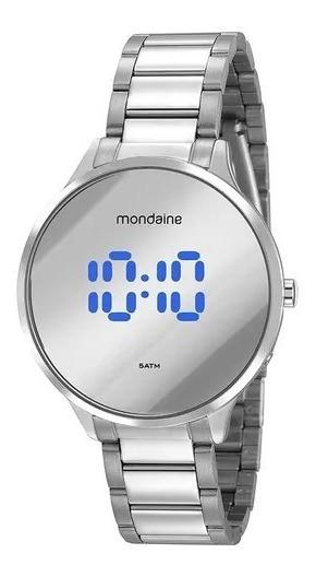Relógio Mondaine Aço Prata Redondo Espelhado Digital Lançame