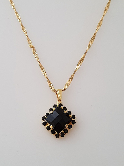 Pingente Cristal Negro + Gargantilha Banhada Ouro. C1p174