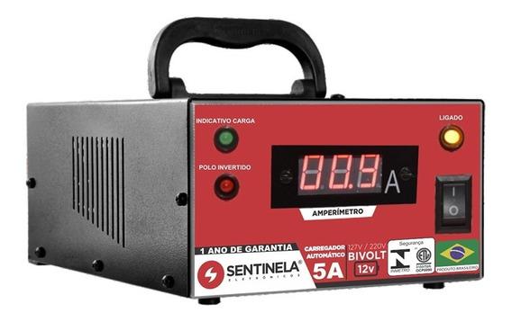 Carregador Bateria Automotivo Carro Moto 5a 12v - Sentinela