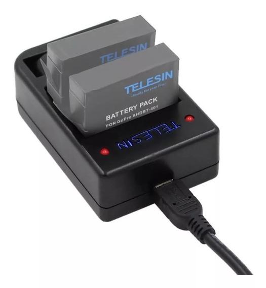 Carregador+duas Baterias Go Pro Hero 4/ Telesin