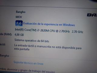 Notebook Bangho Core I7 2da Gen 4gb Ram 500gb Hdd Detalle