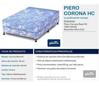 Conjunto Piero Corona Real Resortes 130x190x26 Cordoba Cap