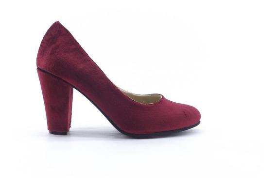 Zapato Dama Stiletto Mujer Varios Colores Taco Ancho Clasico