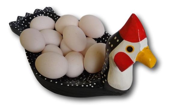 Porta Ovos Galinha Angola Decoração Em Madeira Ref.0308