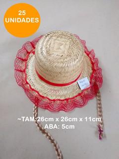 25 Chapéu Palha Infantil Trança Festa Junina Aba 5cm M0080