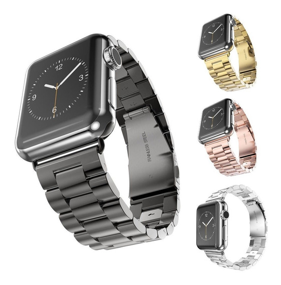 Correa Eslabones Apple Watch 38 Y 42 Mm + Case De Lujo