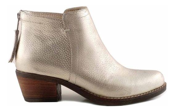 Bota Botineta Mujer Briganti Zapato Cuero Goma - Mcbo24800