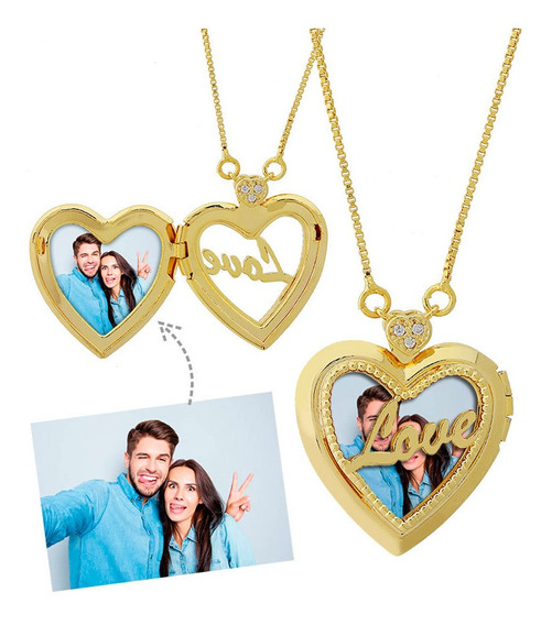 Colar Personalizado Com Foto Relicário Love Semijoia Dourado