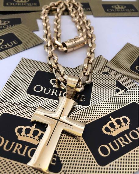 Conjunto Cordão Cadeado E Pingente Em Ouro 18k 750 Luxo