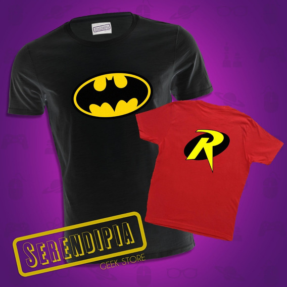 Kit Playeras Batman Y Robin Padre E Hijo Hija