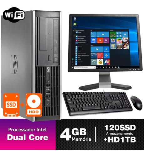 Imagem 1 de 5 de Desktop Seminovo Hp Compaq Sff Dcore 4gb Ssd120+1tb Mon17q