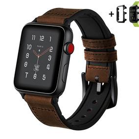 Pulseira Apple Watch Híbrida Couro E Silicone 38mm + Case