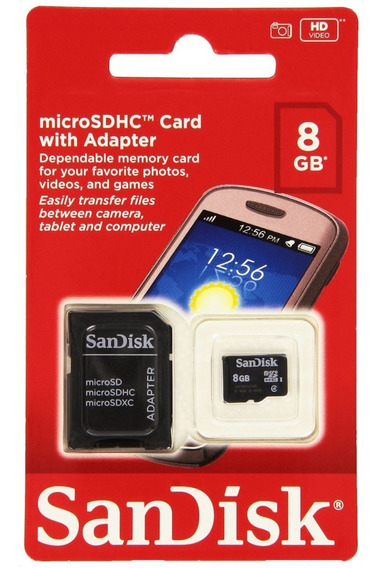 Cartão De Memória Micro Sd 8 Gb, Sandisk ® Original, Lacrado