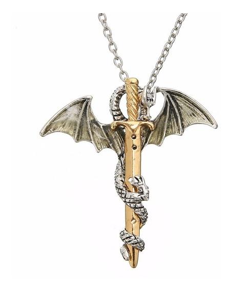 Collar En Forma De Dragon Con Espada Medieval Pareja Hombre