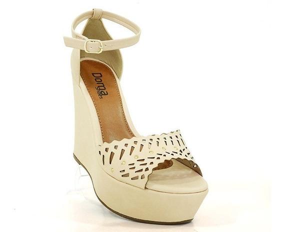 Sandália Anabela Feminina Plataforma Doma Shoes Creme F Grát