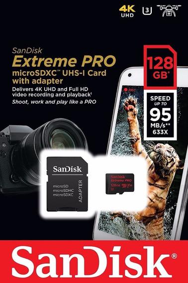 Cartão Micro Sd Xc Sandisk Extreme Pro 128gb 95mb/s U3 A1 4k