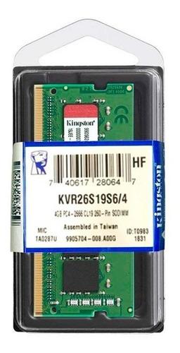 Memoria Ram Kingston Sodimm, 4gb, Ddr4, 2666 Mhz, Cl19
