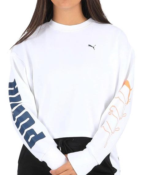 Buzo Moda Puma Rebel Crew Sweat Mujer Blanco