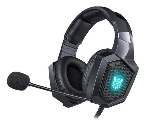 Fone de ouvido gamer Onikuma K8 preto com luz  rgb LED